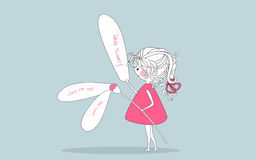 Girl taking the petals off the flower one by one. Vector illustration of Stock Photography
