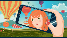 Girl taking photo of herself. The girl taking photo of herself on a mobile phone. Landscape with balloons in the background. Manga style vector illustration