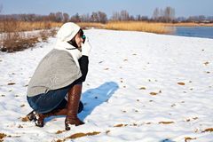 Girl taking a photo Stock Photo