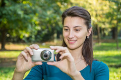 Girl Taking Photos Stock Photo