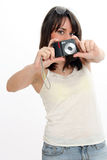 Girl taking picture Royalty Free Stock Photography