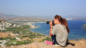 Girl taking picture in bodrum Stock Photos