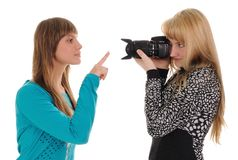 Girl taking picture of friend Stock Photography