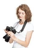 Girl taking pictures Stock Images