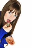 Girl taking pills Stock Photo