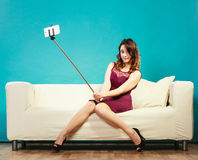 Girl taking self picture selfie with smartphone camera Stock Photos
