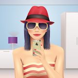 Girl taking self portrait in hat and sunglasses.  Royalty Free Stock Photo