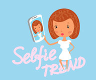 Girl is taking selfie Stock Images