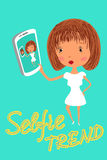 Girl is taking selfie. Handdrawn vector Royalty Free Stock Photos