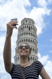 Girl taking a selfie in Italy stock photography