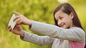 Girl Taking Selfie With Mobile Phone stock footage