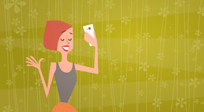 Girl Taking Selfie Photo On Cell Smart Phone Young Cartoon Woman Smiling Royalty Free Stock Images