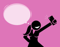 Girl taking a selfie photo with her phone camera. Royalty Free Stock Photo