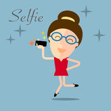 Girl taking selfie photo on smart phone concept illustration Stock Photos