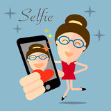 Girl taking selfie photo on smart phone concept illustration Royalty Free Stock Photo
