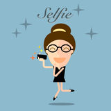 Girl taking selfie photo on smart phone concept illustration Royalty Free Stock Photography