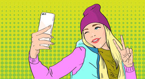 Girl Taking Selfie Photo On Smart Phone Show Two Finger Peace Gesture royalty free illustration