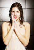 Girl taking a shower Stock Photos