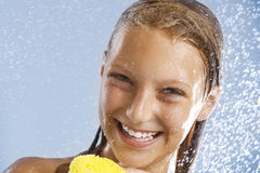 Girl Taking Shower. Happy Teen Girl Taking Shower. Bath. Healthy Skin. Washing Stock Photography