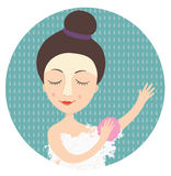 Girl taking a shower. Vector illustration Royalty Free Stock Photos