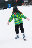 Girl taking a skiing lesson Stock Image