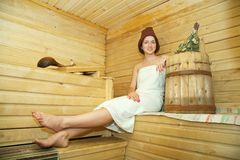 Girl is taking steam-bath Stock Photos