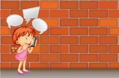 Girl talk on the phone. Illustration stock illustration
