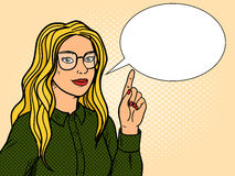 Girl talk and point with forefinger pop art vector. Girl talks and point with forefinger pop art retro vector illustration. Comic book style imitation Royalty Free Stock Image