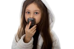 Girl talking. Little girl talking on the phone Royalty Free Stock Photo