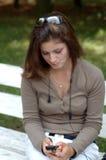 Girl talking cell stock photos