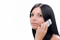 Girl talking at the cell phone Stock Photos