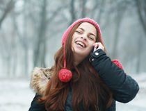 Girl talking on cell phone Stock Image