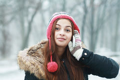 Girl talking on cell phone Royalty Free Stock Images