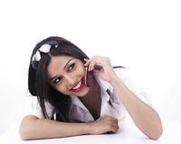 Girl talking on the cell phone. Asian girl talking on the cell phone stock images