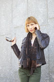 Girl talking on a cell phone. Stock Image