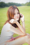 Girl talking on cell phone Royalty Free Stock Photography