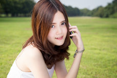 Girl talking on cell phone Royalty Free Stock Image
