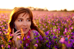 Girl talking on cellphone Stock Photo