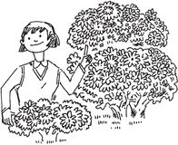 Girl talking about environmental issues. This is a hand drawn image girl talking about environmental issues royalty free illustration