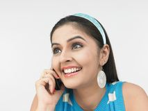 Girl talking on her cell phone Stock Photo