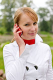 Girl talking by mobile Stock Photo