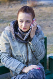 GIRL TALKING ON MOBILE PHONE. Royalty Free Stock Photo