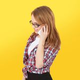 Girl talking on mobile phone Royalty Free Stock Photo