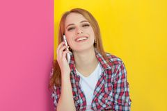Girl talking on mobile phone Royalty Free Stock Images