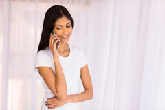 Girl talking mobile phone Royalty Free Stock Images