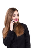 Girl talking on a mobile phone. Portrait of a girl Stock Photo