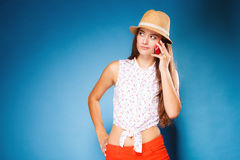 Girl talking on mobile phone smartphone Stock Image