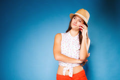 Girl talking on mobile phone smartphone Royalty Free Stock Photo