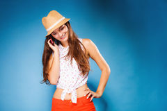 Girl talking on mobile phone smartphone Stock Photo