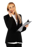 Girl talking on a mobile phone and smile Royalty Free Stock Photos